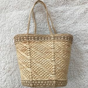 Woven Straw Lined Beach Bag Tote w/ Long Handles